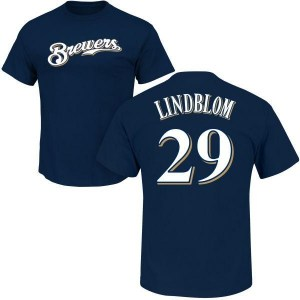 Josh Lindblom Milwaukee Brewers Youth Navy Roster Name & Number T-Shirt -