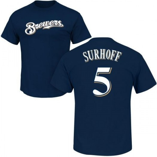 Bj Surhoff Milwaukee Brewers Men's Navy Roster Name & Number T-Shirt -