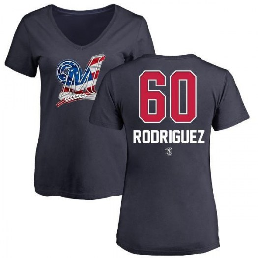 Ronny Rodriguez Milwaukee Brewers Women's Navy Name and Number Banner Wave V-Neck T-Shirt -